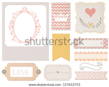Vintage scrapbook elements: photo frames, tags, flags, ribbons with crown and heart. Yellow, pink and grey graphic set isolated on white background
