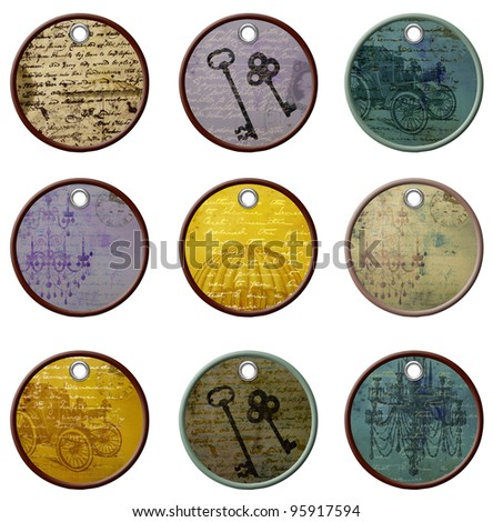Vintage Scrapbook Tags - stock photo
