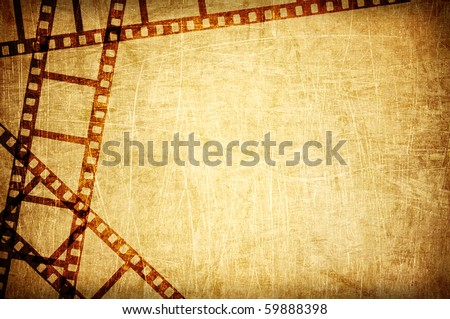 vintage scratch background with film frame - stock photo