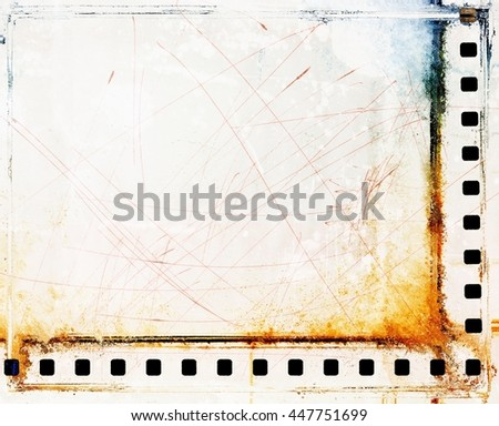 Vintage scratched film strip borders - stock photo