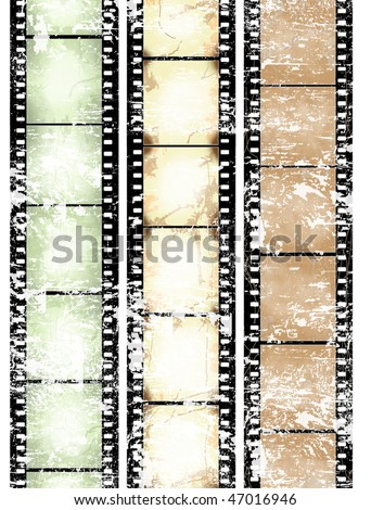 vintage scratched film strips - more available - stock photo