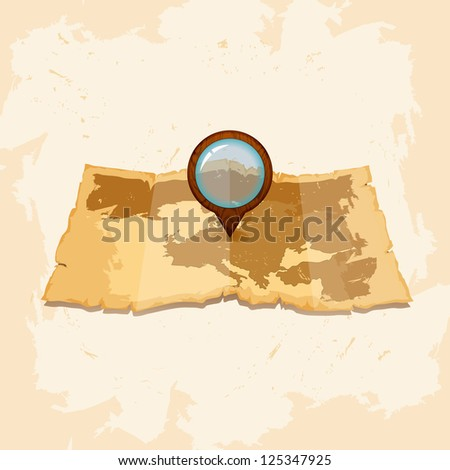 Vintage  scrolled old paper map. bitmap version - stock photo