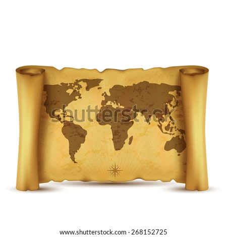 Vintage  scrolled world map isolated on white background.