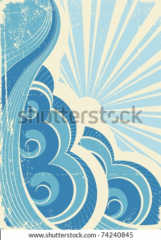 Vintage sea waves and sun.Illustration of sea landscape.Raster - stock photo