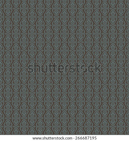 Vintage Seamless Blue Floral Pattern On A Brown Background - stock photo