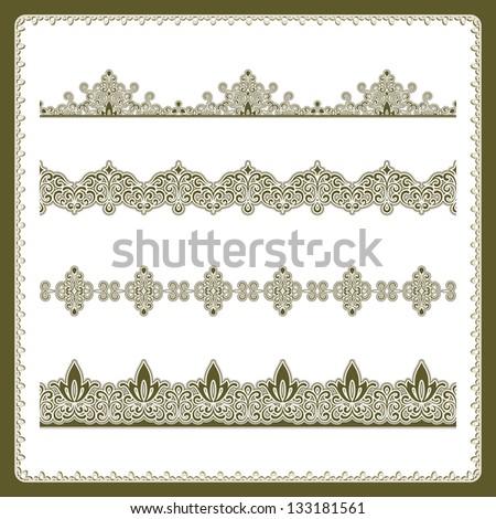 Vintage seamless border set, raster decorative elements isolated on white - stock photo