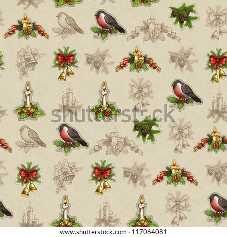 Vintage seamless christmas pattern - stock photo