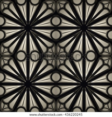 Vintage Seamless 3d texture based on sacred geometry. The pattern of the elements of a Gothic church: circles, crosses, intersection. Dark version. - stock photo