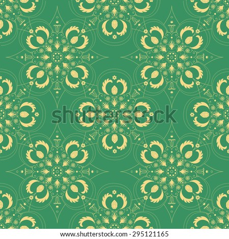Vintage seamless hand drawn background with intricate floral lace motifs in green. Unique baroque or Victorian style seamless pattern - stock photo
