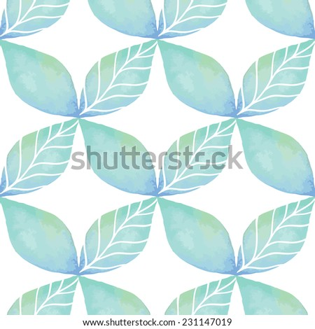 Vintage seamless pattern based on geometric shapes. Watercolor paint. Can be used as decoration for the gift boxes, wallpapers, backgrounds, web sites. The ornament with green leaves. Nature theme. - stock photo