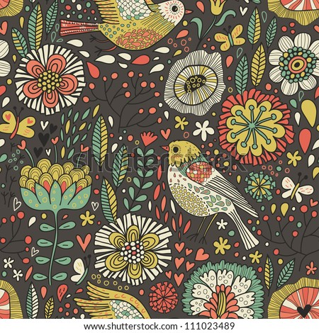 Vintage seamless pattern. Birds in flowers in retro colors - stock photo