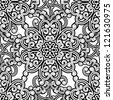 Vintage seamless pattern, black and white floral background. Vector version available in my portfolio - stock vector