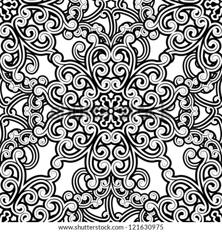 Vintage seamless pattern, black and white floral background. Vector version available in my portfolio - stock photo