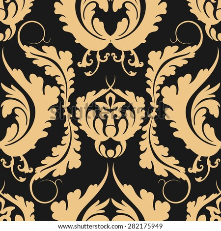 Vintage seamless pattern Damascus. Elegant large golden flowers on a dark background. Can be used to design fabrics, wallpaper, web page background. Rasterized version. - stock photo