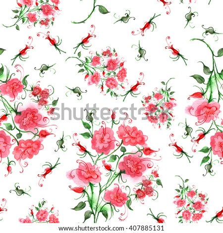 Vintage seamless pattern, floral pattern, pink roses, buds, watercolor - stock photo