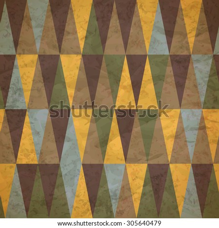 vintage seamless pattern of colored triangles worn - stock photo
