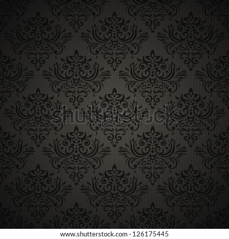 Vintage seamless pattern on dark background with floral elements - stock photo