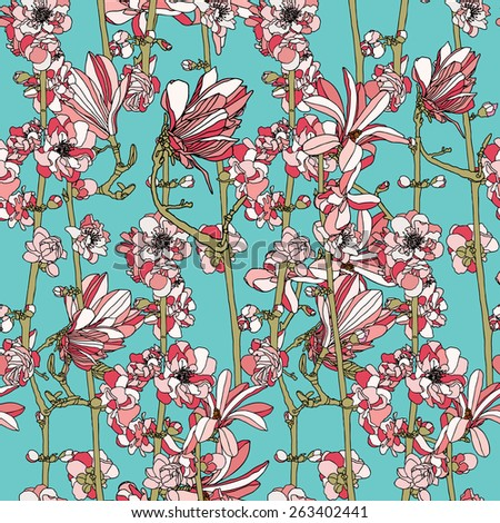 Vintage seamless pattern with apple flowers Seamless texture. - stock photo