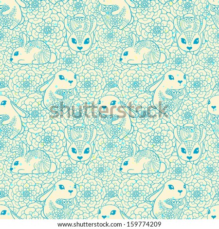 Vintage seamless pattern with bunnies and flowers. Seamless pattern can be used for wallpapers, pattern fills, web page backgrounds,surface textures. - stock photo