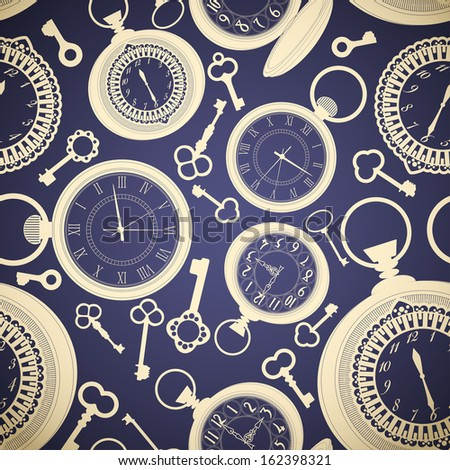 Vintage seamless pattern with clocks and keys. Raster copy