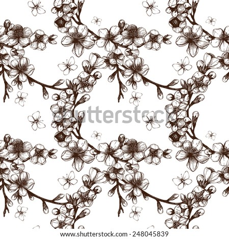 Vintage seamless pattern with hand drawn blooming fruit tree twig. Spring flower illustration on white background - stock photo