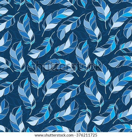 Vintage seamless pattern with hand-drawn feathers. for desktop wallpaper or frame for a wall hanging or poster,for pattern fills, surface textures, web page backgrounds, textile and more.