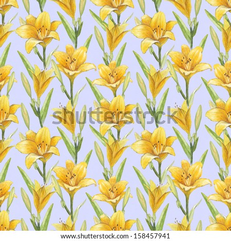 Vintage seamless pattern with lily flowers