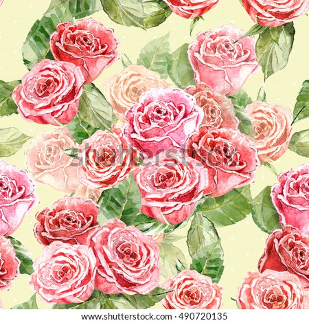 vintage seamless texture with roses. watercolor painting