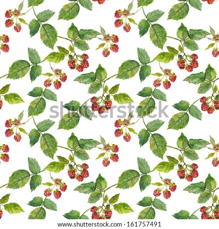 Vintage seamless wallpaper with retro image of elegant raspberry with leaves - stock photo