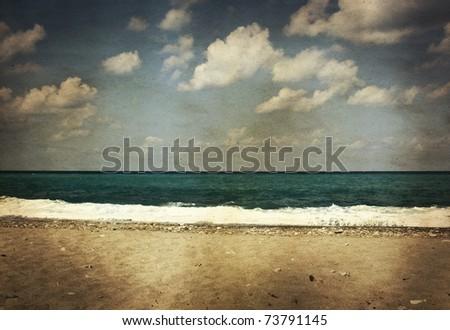 Vintage seascape - stock photo