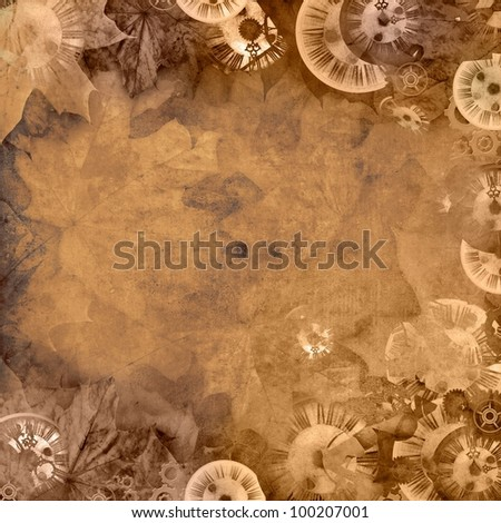 vintage sepia background with clocks and leaves - stock photo