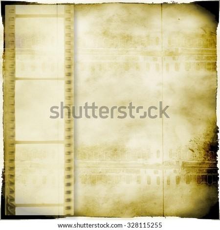 Vintage sepia film strip frame background - stock photo