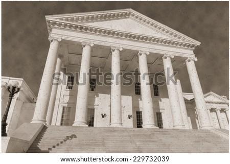 Vintage sepia imitation view on Virginia statehouse - stock photo
