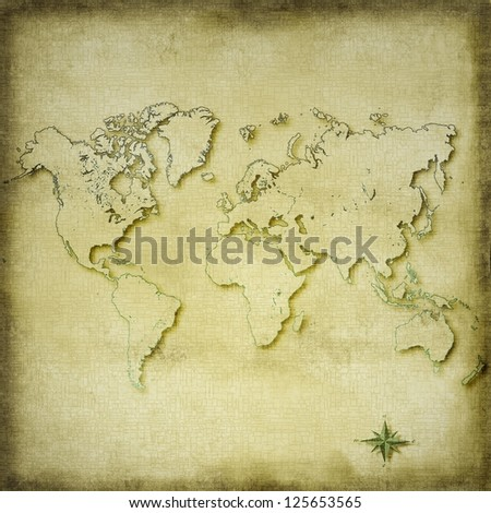 Vintage sepia world map background