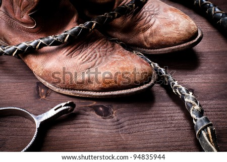 vintage setting with accessories from riding - stock photo