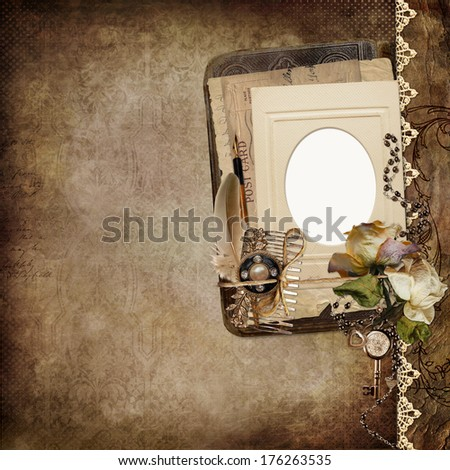 Vintage shabby background with frame, faded roses, old letters   - stock photo