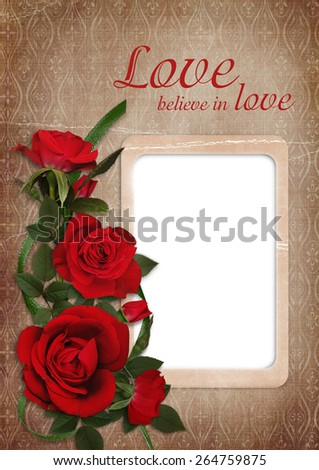 Vintage shabby background with red roses and frame - stock photo