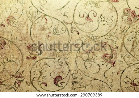 Vintage shabby chic wallpaper with vignette floral victorian pattern, toned image - stock photo