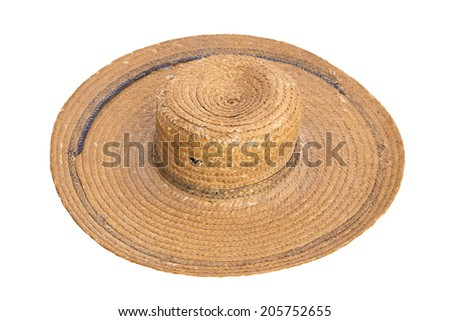 Vintage shabby straw hat isolated