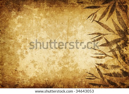 Vintage shabby warm colors background framed with strange beautiful flowers. Empty space and dark borders