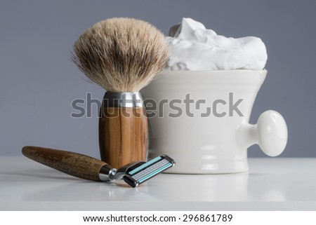 vintage Shaving Equipment on white Table and bright Background - stock photo