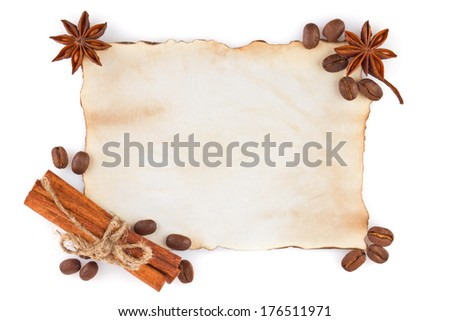 Vintage sheet paper with spice and coffee seed isolated on white background - stock photo