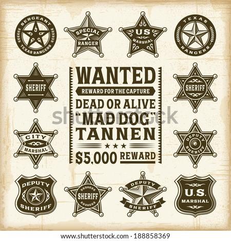 Vintage sheriff, marshal and ranger badges set - stock photo