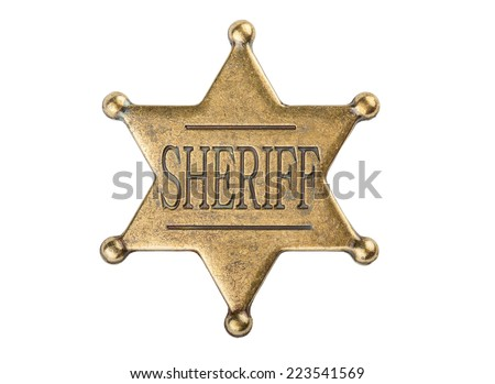 Vintage sheriff star badge isolated on white background