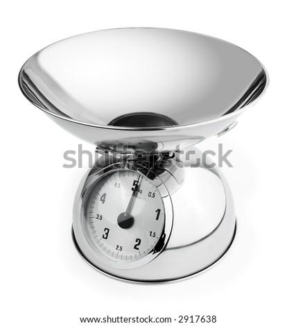 vintage shiny kitchen scales isolated on white background - stock photo