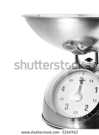 vintage shiny kitchen scales isolated on white background - stock photo