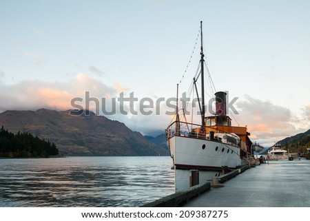 Vintage ship at Lake Wakatipu in the morning, Queenstown, New Zealand - stock photo