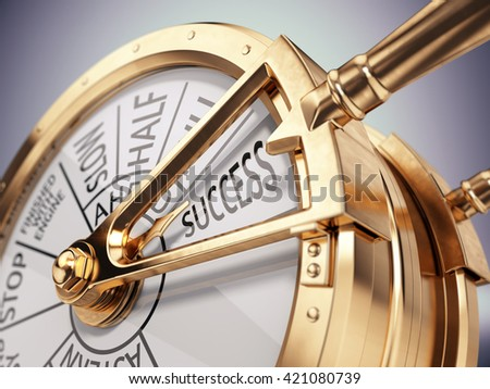 Vintage ships engine room telegraph on success mark - success business concept. 3d render - stock photo