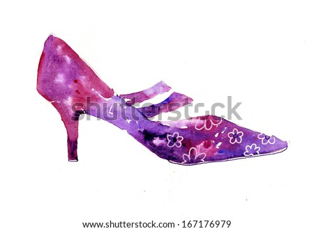 Vintage shoe illustration - stock photo