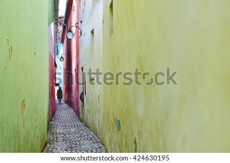 Vintage shot with Rope Street or String Street, the narrowest street in Transylvania's Brasov city and one of the narrowest streets in Europe - stock photo